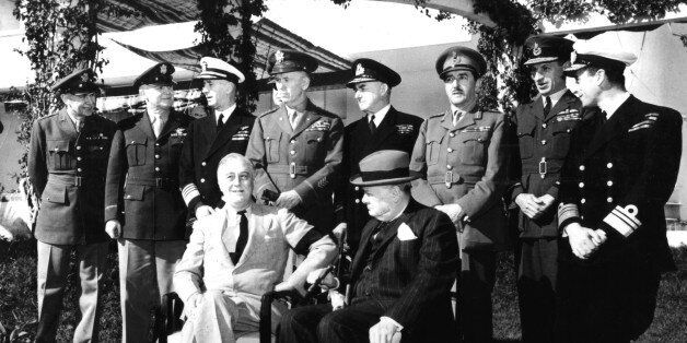 Casablanca conference, Roosevelt and Churchill. Behind President Roosevelt, General Marshall, January...