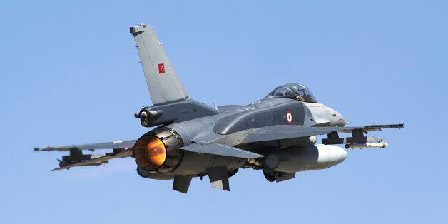 A Turkish Air Force modern F-16D Block50+ Fighting Falcon taking off, equipped with conformal fuel