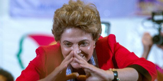 SAO PAULO, BRAZIL - JULY 8: Brazilian suspended President Dilma Rousseff participates in a rally of women...