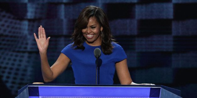 PHILADELPHIA, PA - JULY 25: First lady Michelle Obama acknowledges the crowd after delivering remarks...