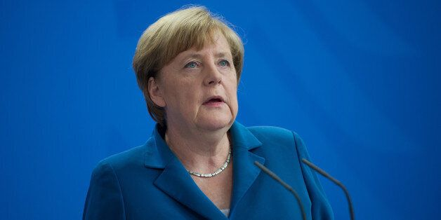 German Chancellor Angela Merkel at the Chancellery in Berlin after a shooting rampage at the Olympia...