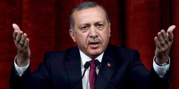 Turkey President Recep Tayyip Erdogan delivers a speech commenting on those killed and wounded during...