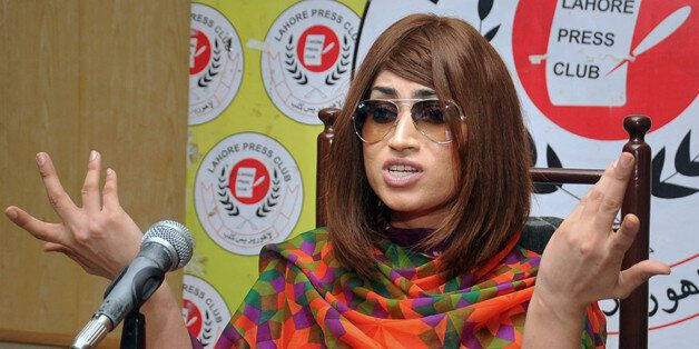 In this picture taken on June 28, 2016, Pakistani fashion model Qandeel Baloch speaks during a press...