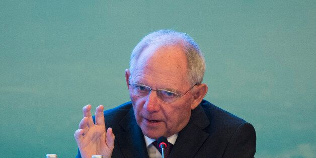 Germany's Finance Minister Wolfgang Schäuble speaks during the G20 High-level Tax Symposium, part of...