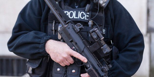 An armed Police Officer in London,