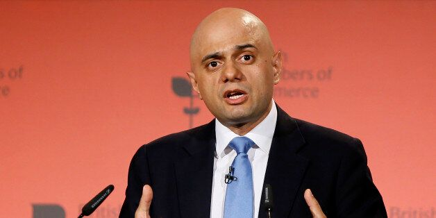 Britain's Secretary of State for Business Sajid Javid speaks during the British Chambers of Commerce...