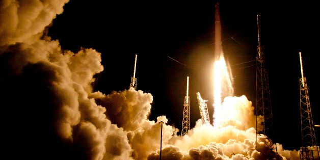 The Falcon 9 SpaceX rocket lifts off from launch complex 40 at the Cape Canaveral Air Force Station in...
