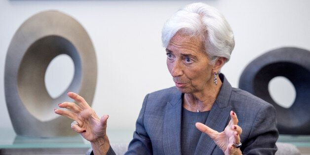 International Monetary Fund (IMF) Managing Director Christine Lagarde speaks during an interview at the...
