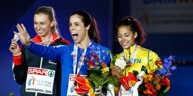 Athletics - European championships - Women's pole vault final - Amsterdam - 9/7/16 Germany's Lisa Ryzih,...