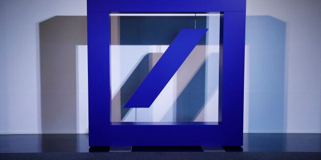 The emblem of Deutsche Bank is pictured during the bank's annual general meeting in Frankfurt, Germany,...