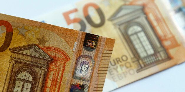 The German Bundesbank presents the new 50 euro banknote at it's headquarters in Frankfurt, Germany, July...