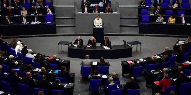 German chancellor Angela Merkel addresses lower house of Parliament Bundestag in Berlin ahead of NATO...