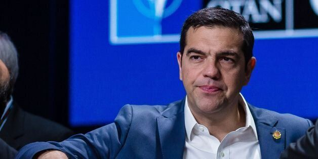 Prime Ministers of Greece Alexis Tsipras (L) and Iceland Sigurdur Ingi Johannsson (R) chat before the...