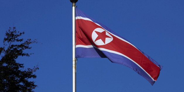 A North Korean flag flies on a mast at the Permanent Mission of North Korea in Geneva October 2, 2014....
