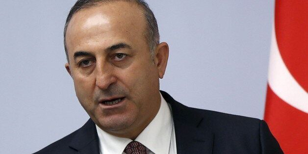 Turkey's Foreign Minister Mevlut Cavusoglu speaks during a news briefing in Tbilisi, Georgia, February...