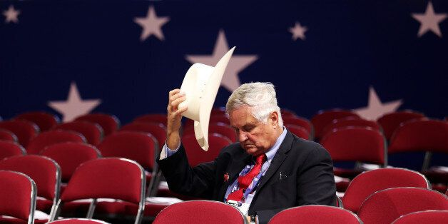 CLEVELAND, OH - JULY 18: Tom Pauken, Republican Delegate of Texas takes off his hat before the start...