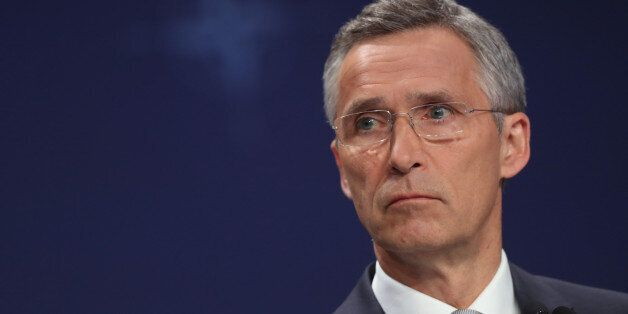 WARSAW, POLAND - JULY 09: NATO Secetary General Jens Stoltenberg speaks to the media at the Warsaw NATO...