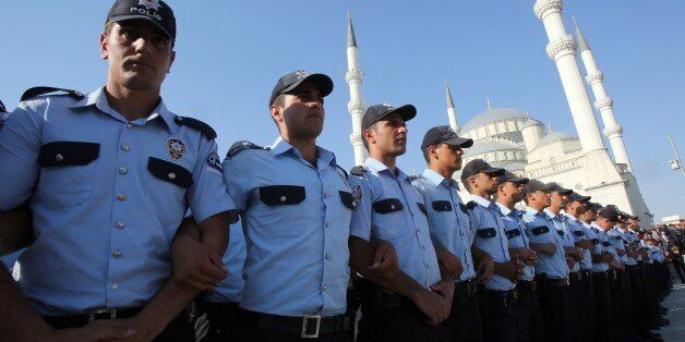 ANKARA, TURKEY - JULY 17: Police officers are seen standing during a funeral ceremony of Infantry Staff...