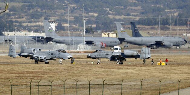 U.S. Air Force A-10 Thunderbolt II fighter jets (foreground) are pictured at Incirlik airbase in the...