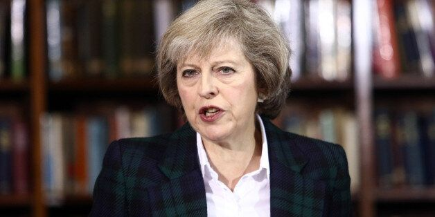 Theresa May, U.K. home secretary, speaks during a news conference to announce her Conservative party...