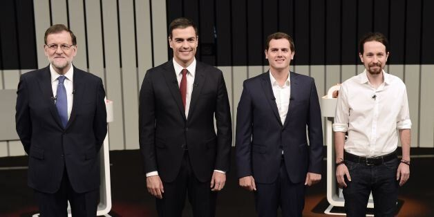 (L to R) Leader of the People's Party (PP) and Spain's caretaker Prime Minister and party candidate,...