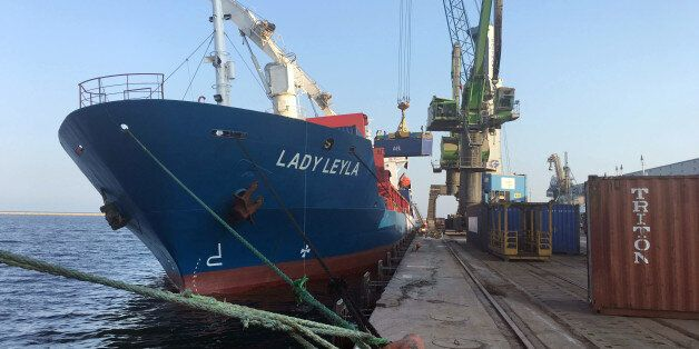 Lady Leyla, a Turkish ship that is to carry humanitarian aid to Gaza following a reconciliation agreement...
