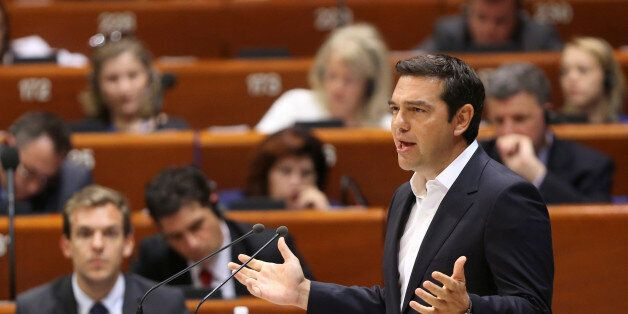 Greece's Prime Minister Alexis Tsipras adresses the parliamentary assembly of the Council of Europe in...
