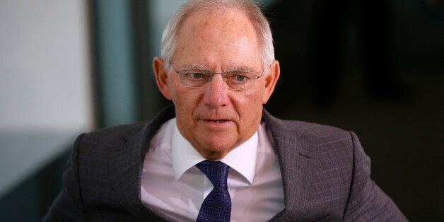 German Minister of Finance Wolfgang Schauble arrives for the weekly cabinet meeting at the Chancellery...