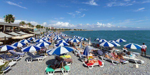 France. Cote Dazur. Cagnes Sur Mer. The Beach. (Photo by: Valletta Vittorio/AGF/UIG via Getty