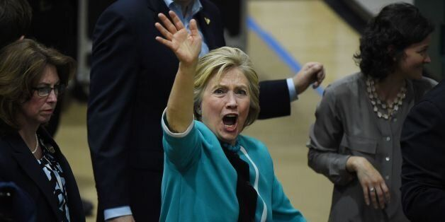 US Democratic presidential candidate Hillary Clinton acknowledges the crowd after a rally at the East...