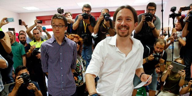 Podemos (We Can) leader Pablo Iglesias, now running under the coalition Unidos Podemos (Together We Can),...
