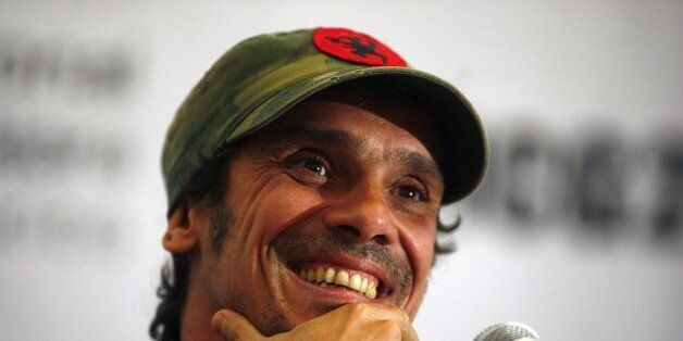 French-born performer and political activist Manu Chao addresses the media during a press conference...