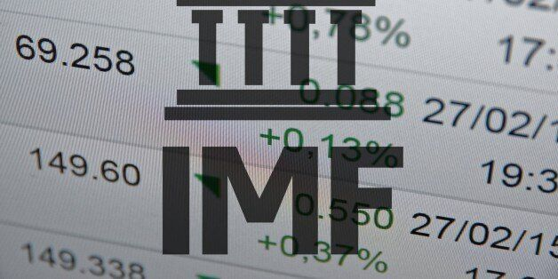 Building icon with inscription 'IMF' with financial data visible in the