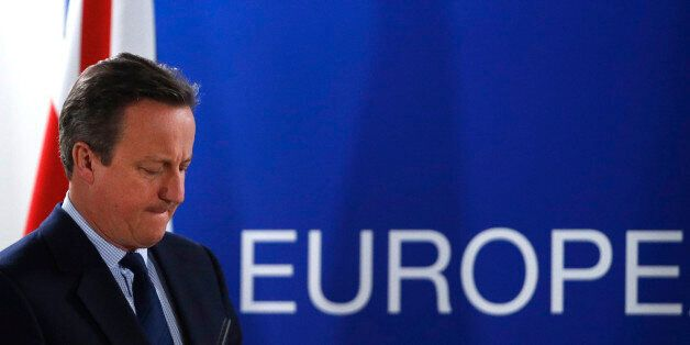 United Kingdom's Prime Minister Cameron addresses a news conference after the EU Summit in Brussels,...