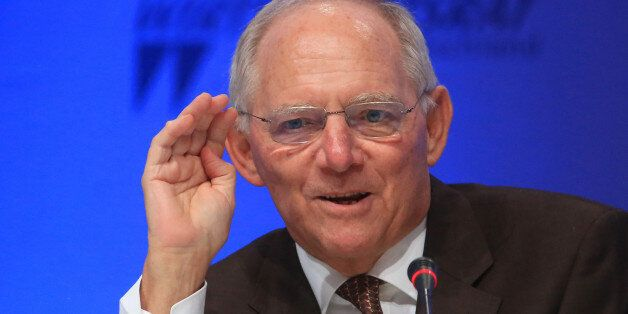 Wolfgang Schaeuble, Germany's finance minister, speaks during a business conference at the Economic Council...