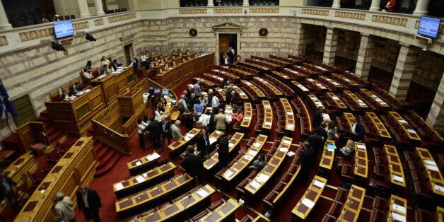 (GERMANY OUT) The Hellenic Parliament deciding the prior actions in form of one law for the negotiation...