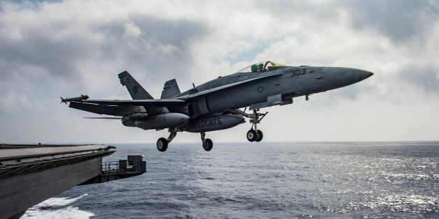 MEDITERRANEAN SEA - JUNE 28: In this handout provided by the U.S. Navy, an F/A-18E Super Hornet assigned...