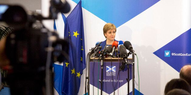 Scotland's First Minister Nicola Sturgeon speaks during a media conference at the Scotland House in Brussels...