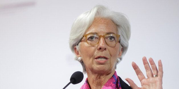 Christine Lagarde, managing director of the International Monetary Fund (IMF), gestures as she speaks...