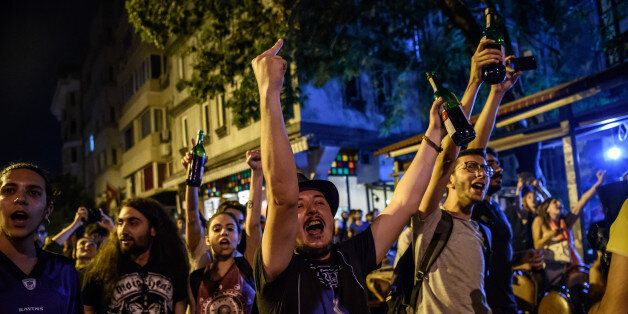 Protester chant slogans against goverment on June 18, 2016 at cihangir district in Istanbul during a...