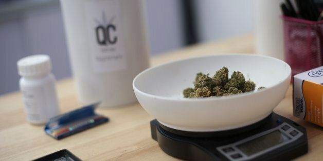 TORONTO, ON - APRIL, 28 Some White Nightmare gets weighed out for a customer.The Queens of Cannabis has...