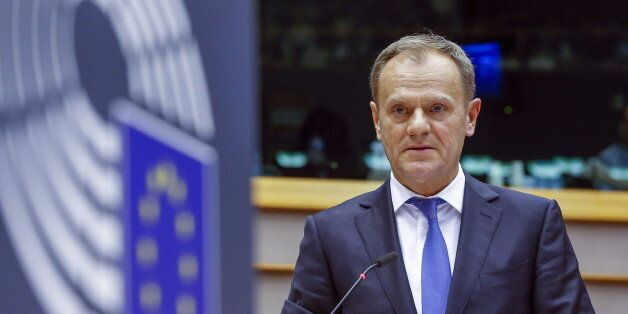 European Council President Donald Tusk testifies before the European Parliament in Brussels February...