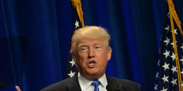 MANCHESTER, NH - JUNE 13: Republican Presidential candidate Donald Trump speaks at Saint Anselm College...