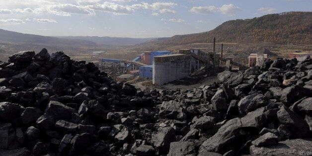 A general view shows Pinggang coal mine from the state-owned Longmay Group on the outskirts of Jixi,...