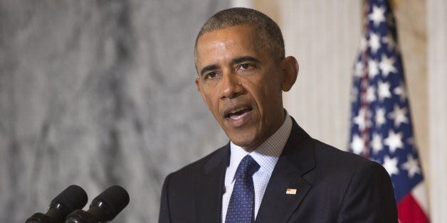 US President Barack Obama speaks following a National Security Council meeting on the Islamic State at...