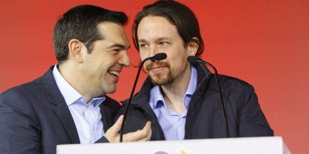 OMONIA SQUARE, ATHENS, ATTICA, GREECE - 2015/01/22: Alexis Tsipras (left), the leader of SYRIZA and the...