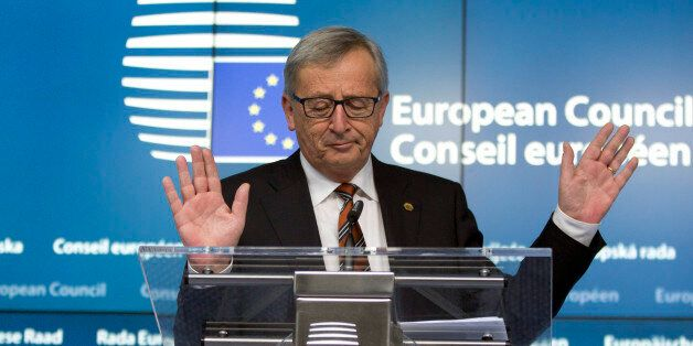 European Commission President Jean-Claude Juncker speaks during a media conference at an EU summit in...