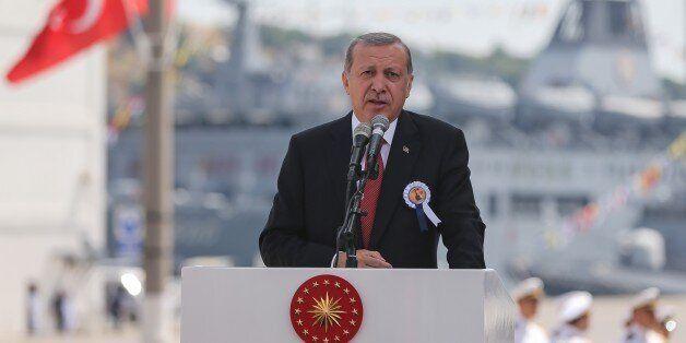 ISTANBUL, TURKEY - JUNE 18: Turkish President Recep Tayyip Erdogan delivers a speech during a ceremony,...