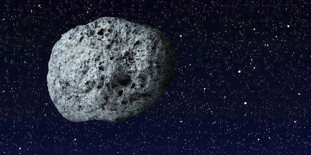 large asteroid flying in the