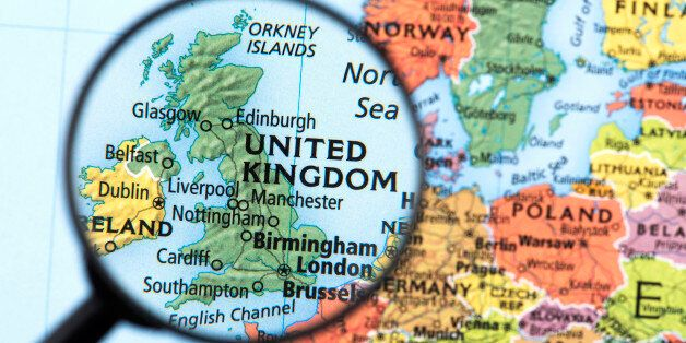 Map of United Kingdom. Detail from the World Atlas. Selective